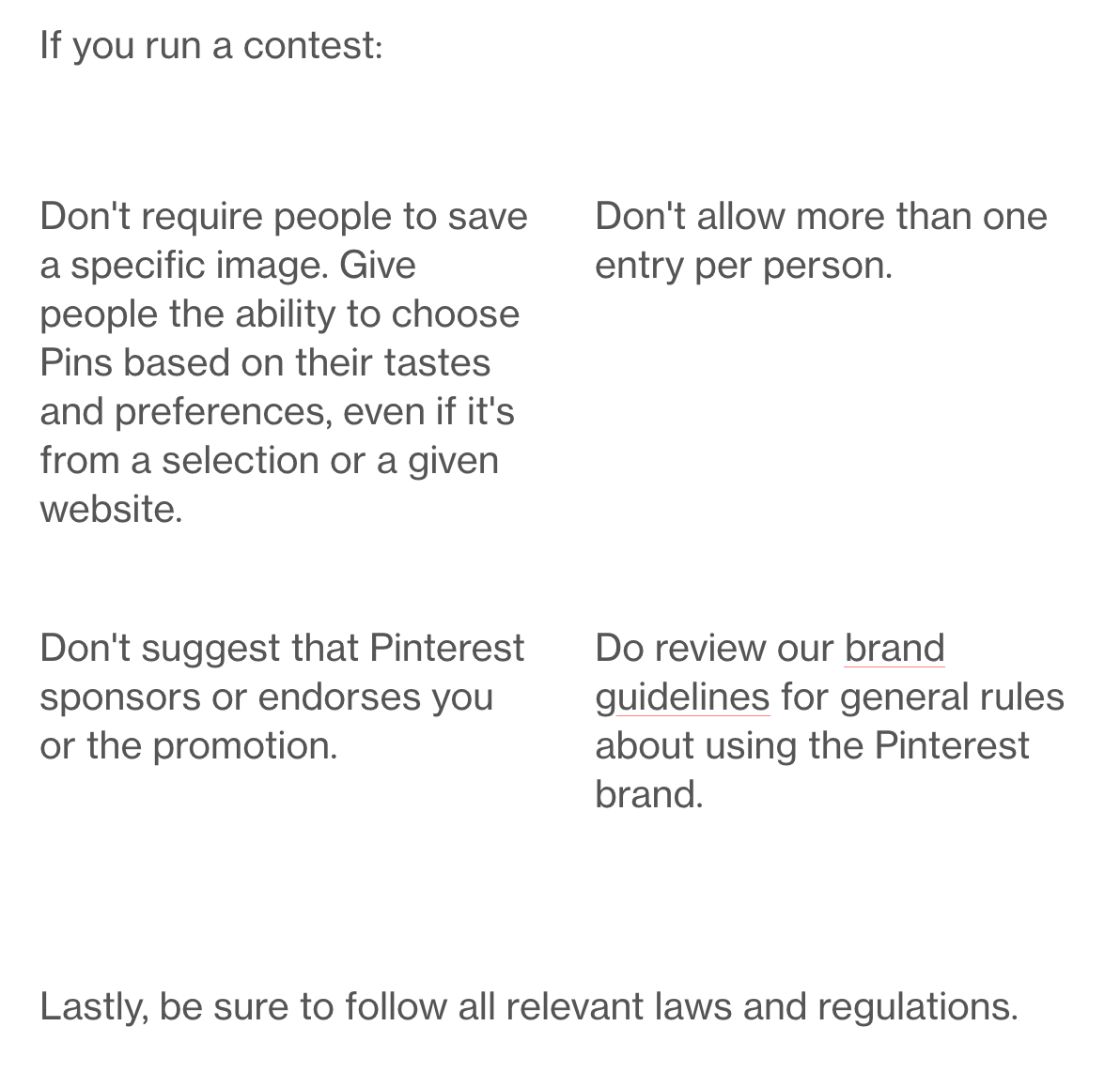 Screenshot of Pinterest's competition or contest rules updated September 2018