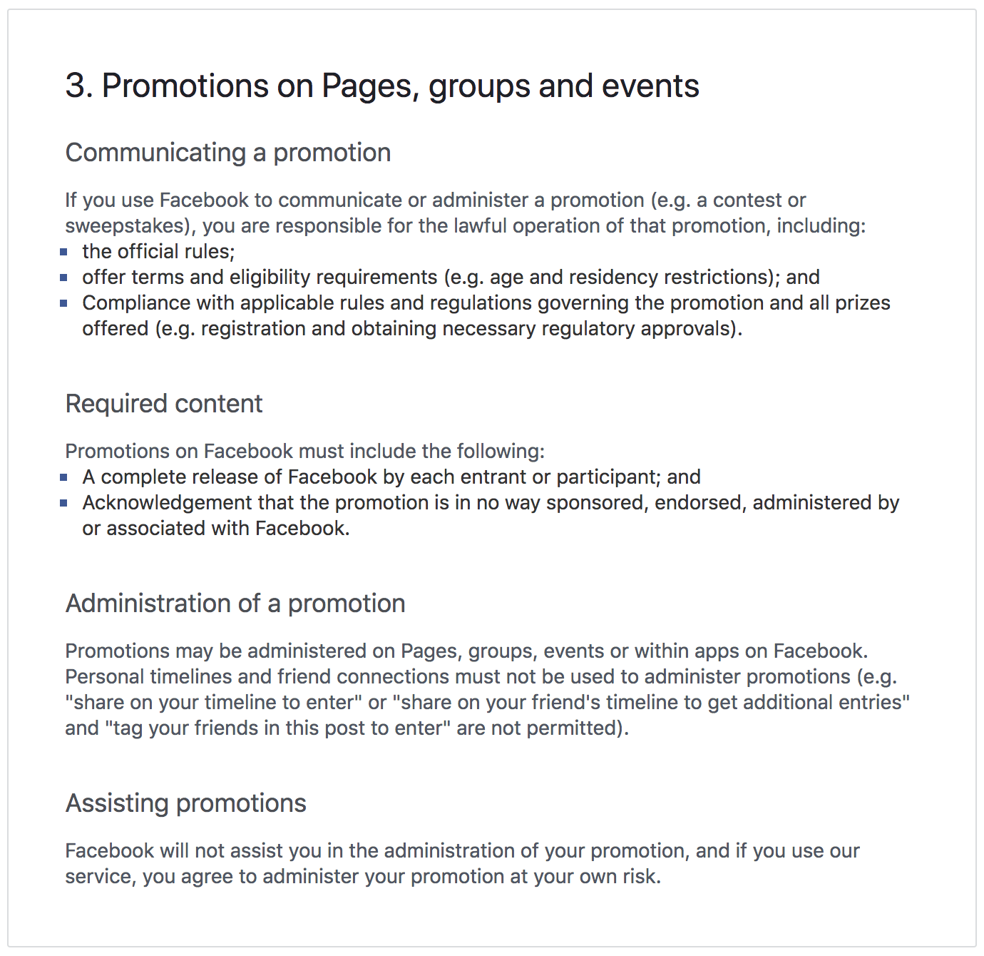Screenshot of Facebook's official competition rules for running promotions on pages, groups and events updated September 2018