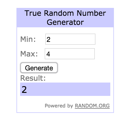 Random.org will pick a random number between your min and max, the number it generates corresponds to the line number of the winner in your spreadsheet.